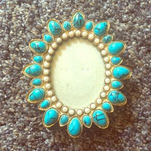 Vintage Turquoise and Pearl Photo Frame